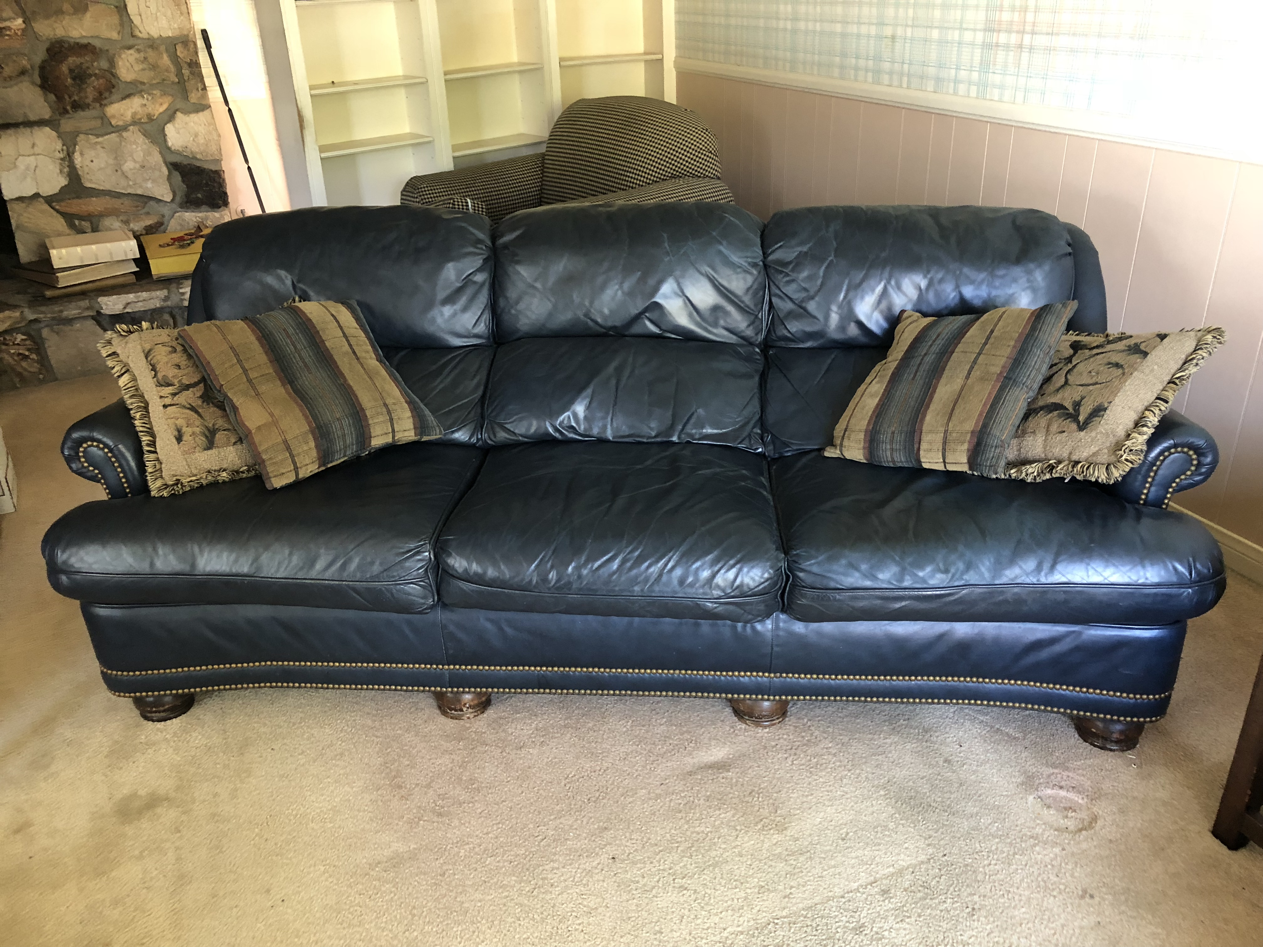 Han Moore Navy Blue Leather Sofa